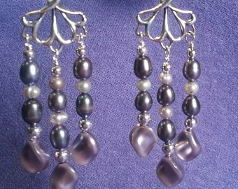 Lavender Pearl and Silver Chandelier Earrings - Free Shipping