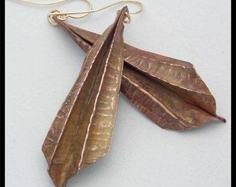 COPPER ART - Handforged Flamed Foldformed Long Statement Earrings