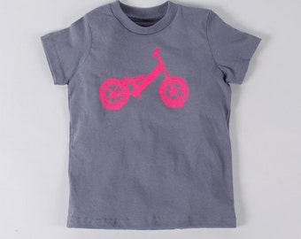BALANCE BIKE 6T  T-shirt Neon Pink on Slate Gray Toddler Tee