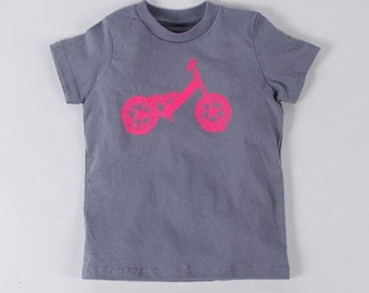 BALANCE BIKE 4T  T-shirt Neon Pink on Slate Gray Toddler Tee
