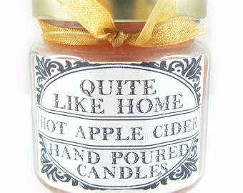 Hot Apple Cider scented 4 oz. jar candle w/ gold lid, & organza ribbon. Spiced cider, warm, cold nights, housewarming, sweet, cinnamon, gift