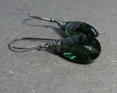 Emerald Green Earrings Concave Cut Quartz Earrings Oxidized Sterling Silver Earrings