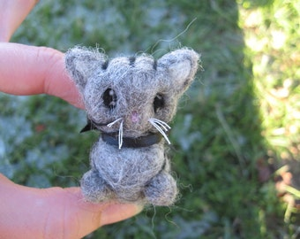 Needle Felted Gray Tabby Cat Thomas the Kitty Miniature Figure