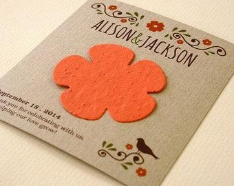 25 Wildflower Rustic Seed Paper Wedding Favors