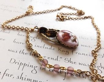 vintage pendant on gold chain - gold necklace with pink beads and vintage pendant - blush necklace - dried flower pendant - flora necklace