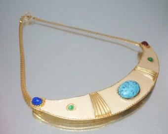 Egyptian Revival Necklace Choker Faux Stones Enamel