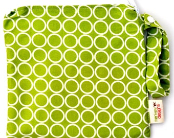 Small 9 x 9 Wet bag / Snack / Swim / Diapers / Chartreuse Lime Mod Circles Fabric / SEALED SEAMS and Snap Strap
