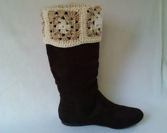 Cream Granny square boot cuffs - crochet boot toppers, boot socks, mini leg warmers, crochet cuffs
