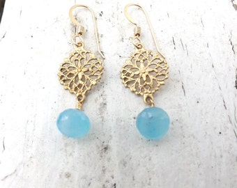 Chalcedony Brass Filigree Delicate Earrings - 14 KT Gold Filled No Slip Twisted Earwires - 1 1/2 Inches Long - Sky Blue Chalcedony Earrings