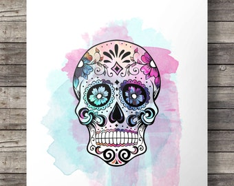 Sugar Skull Watercolor, Mexican skull, Dia di los Muertos, watercolor, Mexican sugar skull, Printable decor, art print,  skull decor, Mexico