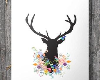 Deer and flowers - stag deer floral art print - deer silhouette Printable wall art