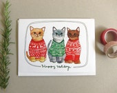 Christmas Card - Cat Christmas Card - Cat Holiday Card - Blank Holiday Card - Cat Card - Holiday Sweater Card - Holiday Sweater Cats