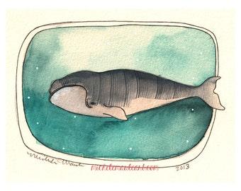 Art - Art Print - Watercolor Print - Whale Art Print - Marine Life Artwork - Ocean Art - Whale - 8x10 Whale Print - Right Whale