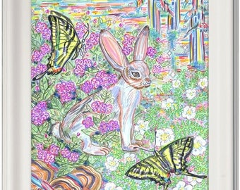Greeting Card, Rabbit, Butterfly, Eco-friendly, Nature, Flowers, Northern California, Forest, Woods, Animal, Magical, Creature, Colorful