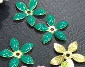FG-EX-08001TG- Nickel Free, Lead Free, Color epoxy, 5-leaf beads cap, teal green, 6 pcs