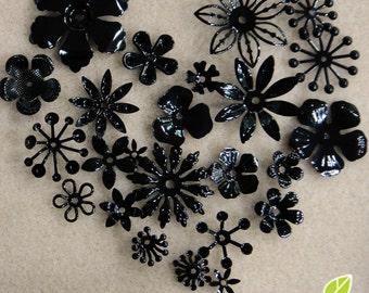 FG-FG-09067SN- Nickel free, Color enameled, Sampler set of flower filigree, black, 24 pcs