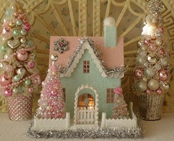 Putz House W Bottle Brush Trees Shabby Aqua And Pink