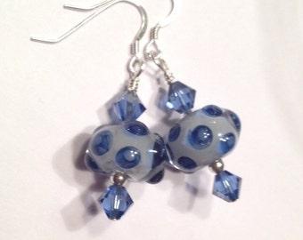 Blue Jean Polka Dot Earrings Sterling Silver Swarovski Crystal Luscious Lampwork Handmade Glass Beads Denim