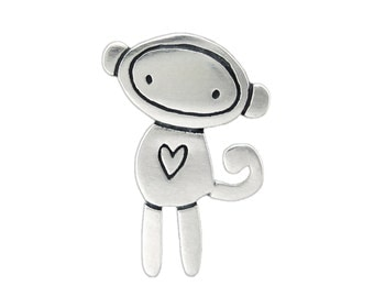 Sterling Sock Monkey Necklace - Silver Monkey Pendant