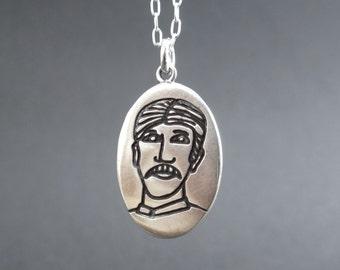 Nikola Tesla Necklace - Sterling Silver Saint Nikola Pendant - Geek Chic