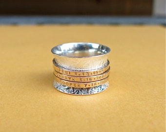 Personalized Meditation Ring in Sterling Silver and Gold Fill
