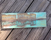 Turquoise Landscape 30a Western Lake painting on wood panel