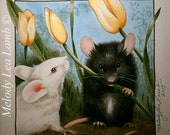 """Black and White Mice With Flowers Art By Melody Lea Lamb 5 x 5""""  Giclee Print"""