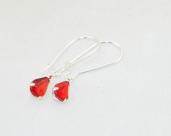 Siam rhinestone teardrop earrings, Valentine, Bride, Bridesmaid, Wedding, Jewelry - July Birthstone