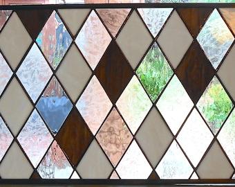Diamond Design Stained Glass Window Panel