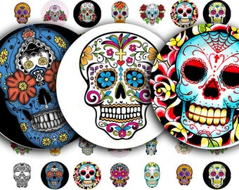 Day of the Dead, Dia de Los Muertos,Sugar Skull Tattoos in 1 Inch Circles, a Digital Collage Sheet,  no. 355