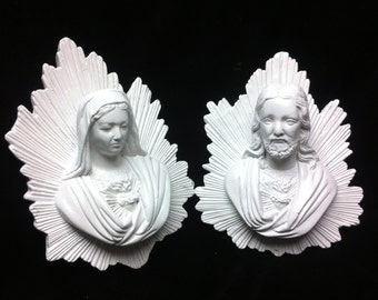 Gloss White Ornate Jesus and Mary wall plaques Shabby chic Baroque Tattoo