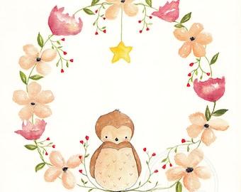 Shine Bright Baby Owl - Children's Art Print