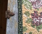Reserved for Pamela ---  quilted table runner --  lilacs  --  table runner
