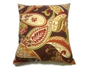 Decorative Pillow Cover Multicolored Paisley Same Fabric Front/Back Brown Red Green Yellow Gold Cream Toss Throw Accent 18x18 inch x