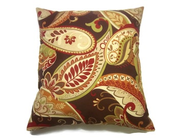 Decorative Pillow Cover Multicolored Paisley Same Fabric Front/Back Red Brown Green Yellow Gold Cream Toss Throw Accent 18x18 inch x