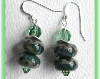 Artisan lampwork bead with sterling silver spacers earrings