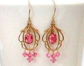 Pink Chandelier Earrings, Swarovski Crystal Dangles, Valentine's Day Gift