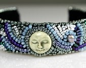 Beaded Jewelry Bead Embroidery Bracelet Cuff Cool Blues Moon