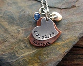 Mom Valentine Necklace, Hand Stamped Copper Heart, Child's Name, Birthdate, Custom, Silver Heart Swarovski Elements Birthstone