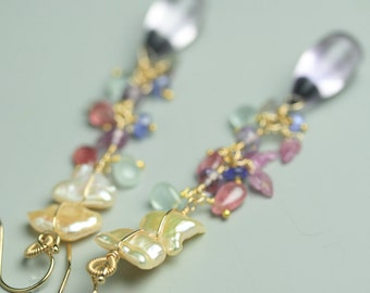 Peachy Pearls, Sapphire and Amethyst Long Dangle Earrings