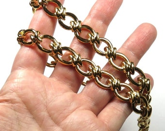 SJK VINTAGE -- Nina Ricci (D'Orlan) Signed Shiny Gold Chunky Links Necklace or Choker with Length Options (1980's)