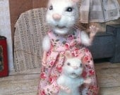 Needle Felted White Mama Mouse in Pink Floral Dress and Needle Felted Baby Mouse