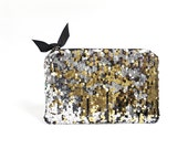 Gold and silver metallic sequin clutch, Makeup bag, Evening bag, Bridesmaid gift, Wallet, Clutch purse, Wedding gift, Clutch bag