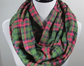 Pink, blue, Green n Black Tartan plaid brushed cotton flannel infinity circle scarf- women autumn fall winter cowl neck shawl fashion gifts