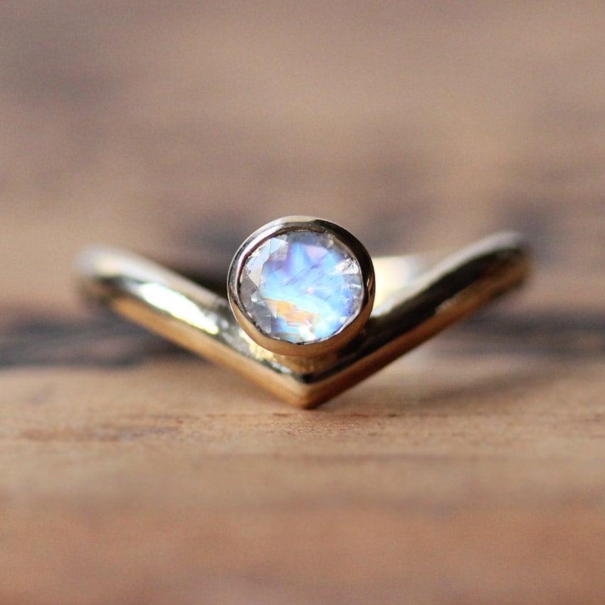 gold moonstone ring 14k yellow gold ring rainbow moonstone