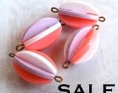 LAST Set- Vintage Plastic Geometric Connector Beads - pink - purple - white (12X) (B628) S A L E - 66% off