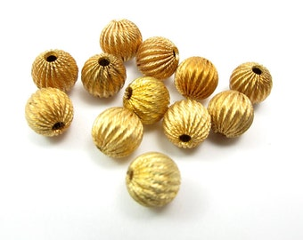 Brass Corrugated Round Beads (12X) (B635)