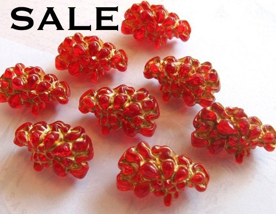 Very Rare Vintage West German Plastic Gold And Ruby Red Rock Beads (4X) (B591) SALE - 25% off