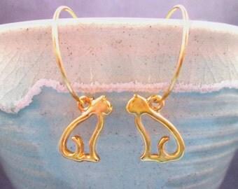 CAT Earrings, On Little Cat Feet, Gold Hoop Cat Earrings, FREE Shipping U.S.