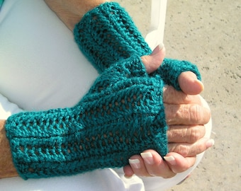 Fingerless Texting Gloves in a Lacy Knit--80s Inspired Handknit Gauntlets
